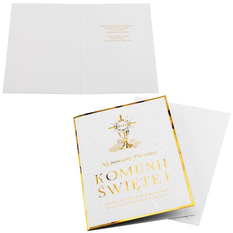 Kartka na I Komunię Świętą - Złoty Kielich