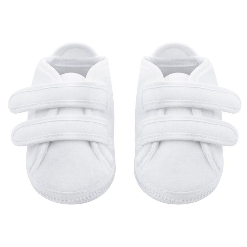 Buciki białe welurowe z płóciennymi wstawkami na 2 rzepy