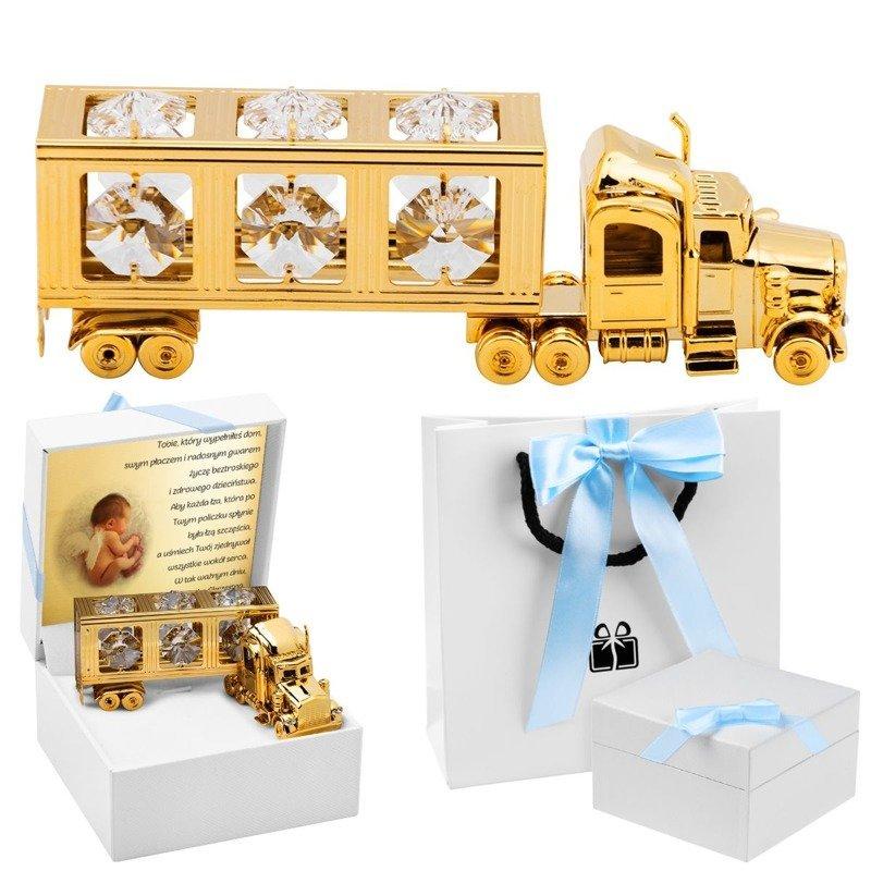 Ciężarówka Swarovski Prezent na Chrzest Dedykacja