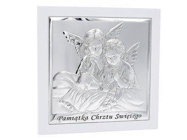 Duży Obrazek srebrny Anioł Stróż  19x19 cm Pamiątka Chrztu