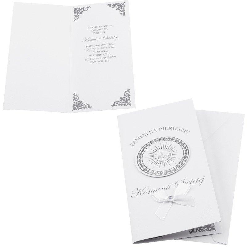 Kartka na I Komunię Świętą - Srebrno-biała