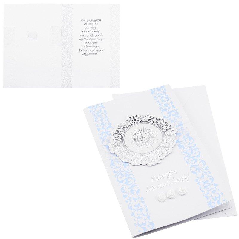 Kartka na I Komunię Świętą - Srebrno niebieska IHS