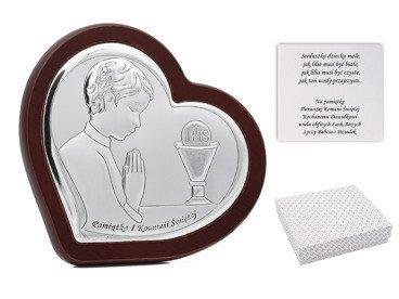 Obrazek srebrny na ciemnym drewnie chłopiec Grawer Pamiątka na I Komunia Św. DEDYKACJA