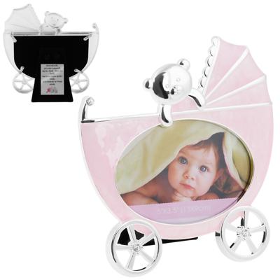 Ramka na Zdjęcie Różowy Wózek Pamiątka Chrzest Roczek Dedykacja