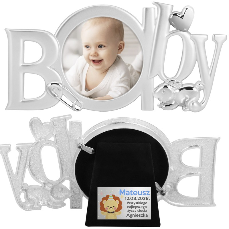 Ramka na zdjęcie dziecka, posrebrzana z Dedykacją