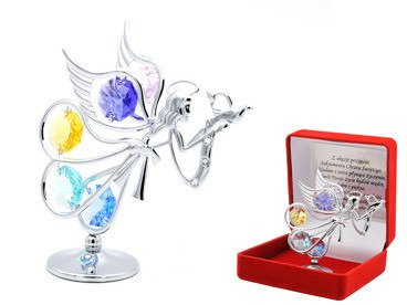 Srebrny Anioł Swarovski Pamiątka Chrztu z GRAWEREM