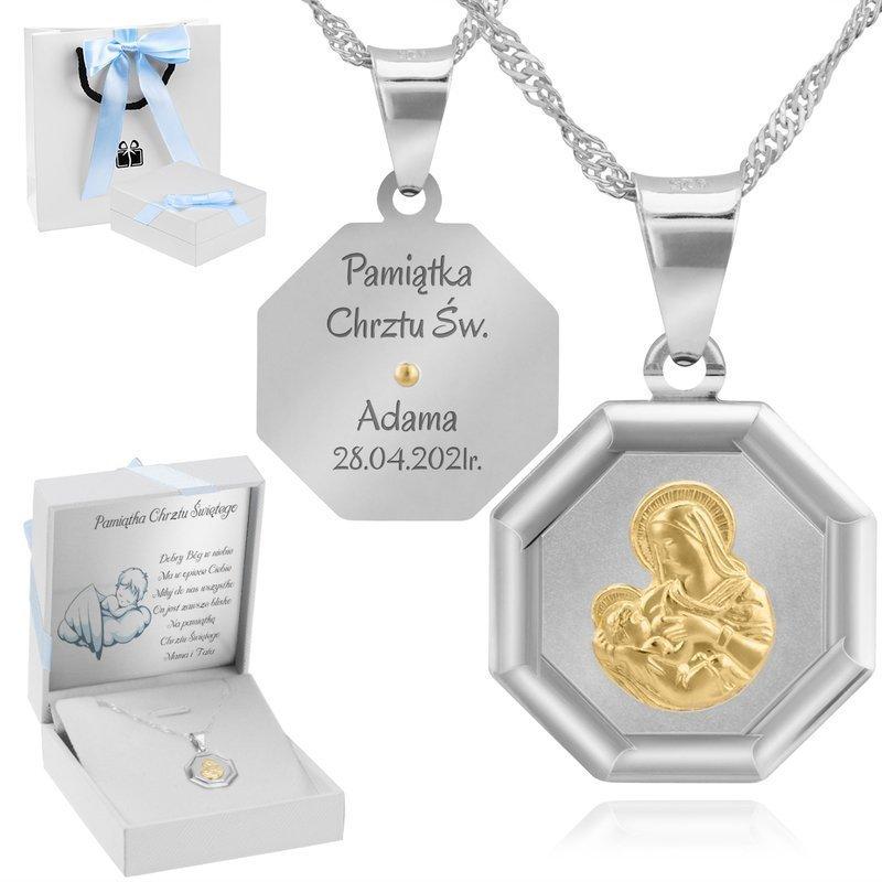 Srebrny Medalik Matka Boska Karmiąca Pozłacana Grawer