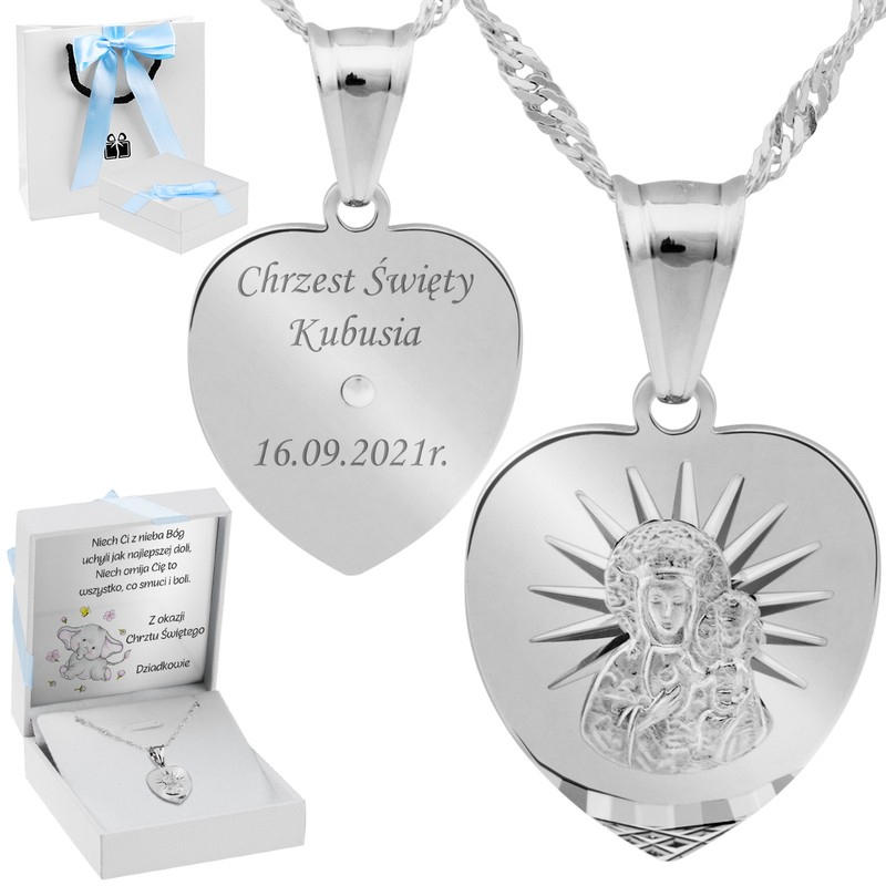 Srebrny Medalik Serce Matka Boska Częstochowska pr. 925 Grawer