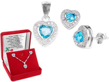 Srebrny komplet wisiorek i kolczyki pr. 925 serce z błękitną cyrkonią DEDYKACJA