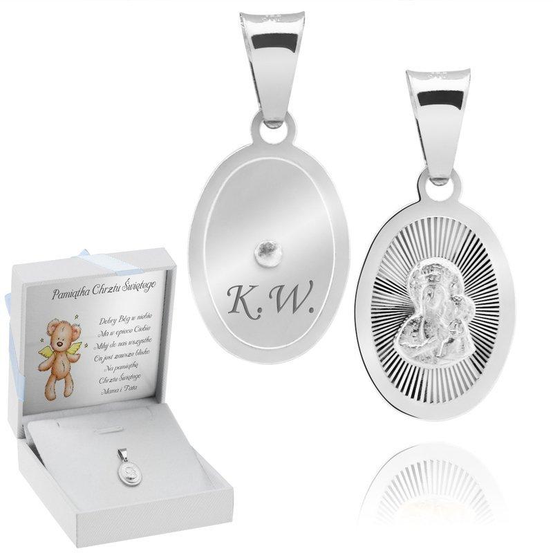 Srebrny medalik Matka Boska Częstochowska Owalny Grawer