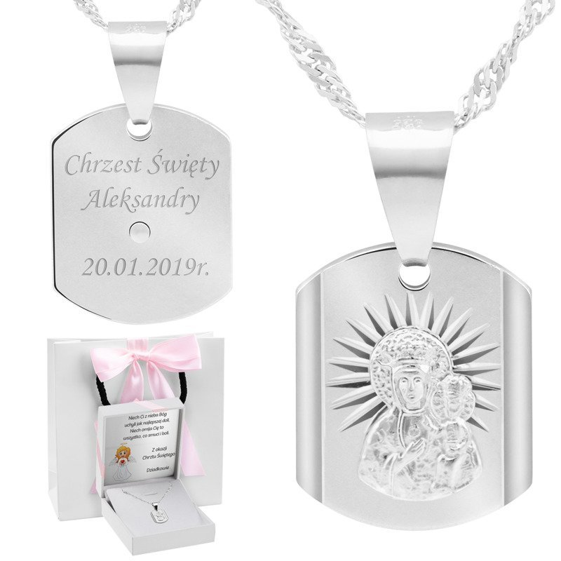 Srebrny medalik Matka Boska Częstochowska pr. 925 Grawer różowa kokardka