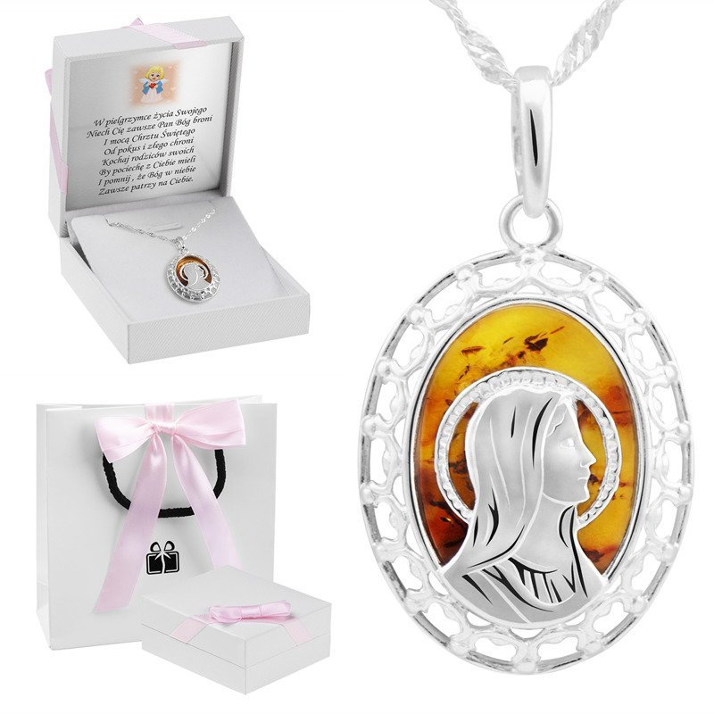 Srebrny medalik Matka Boska z bursztynem Prezent z Dedykacją