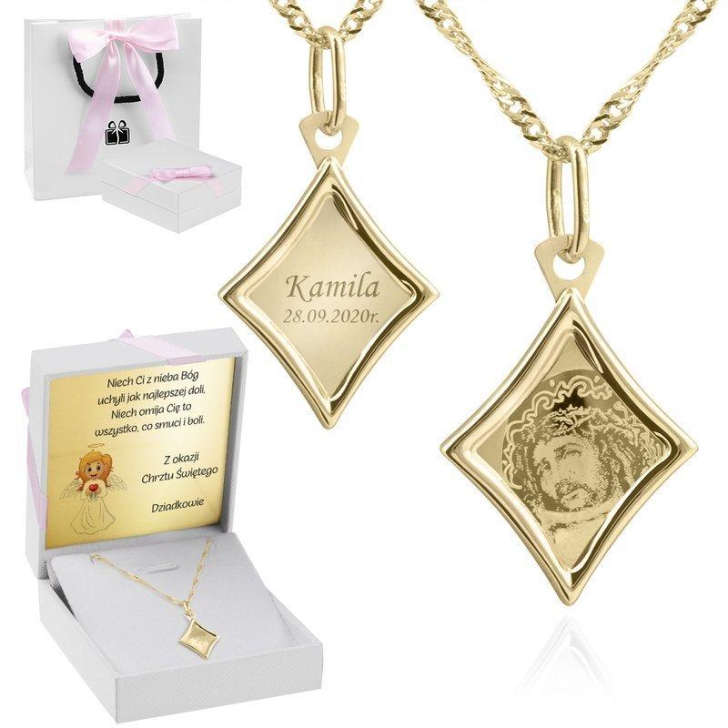 Złoty Medalik Łańcuszek 585 Jezus Chrzest Chrzciny Roczek Komunia Bierzmowanie Prezent GRAWER różowa kokardka