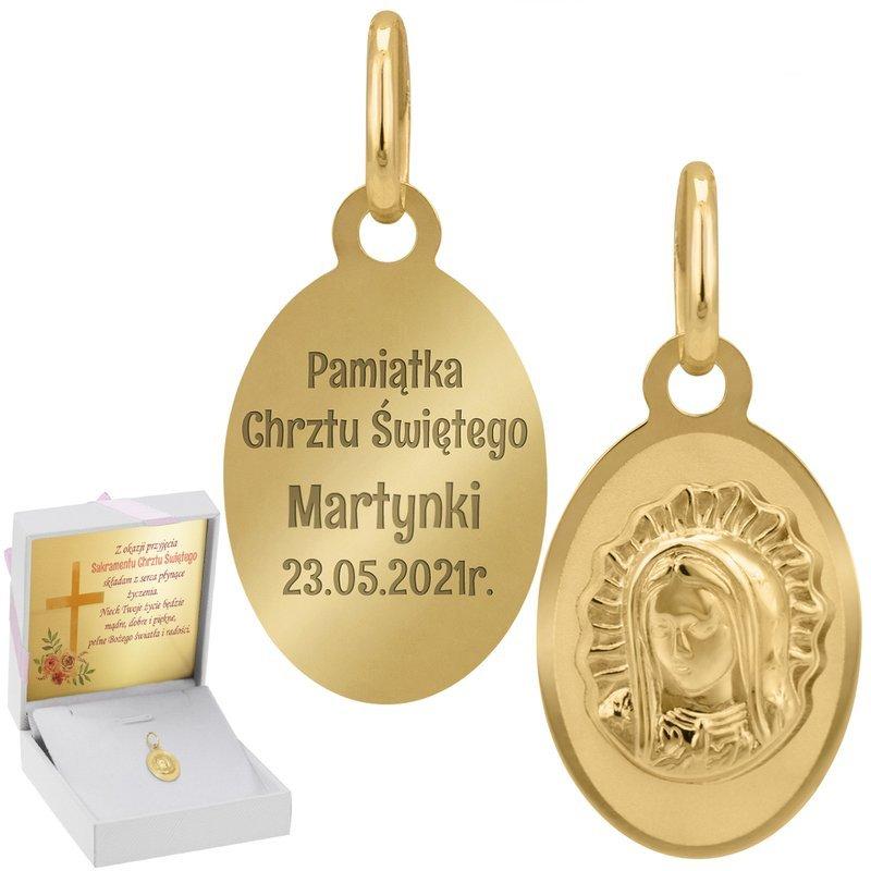 Złoty Medalik Matka Boska Grawer I Dedykacja Róż