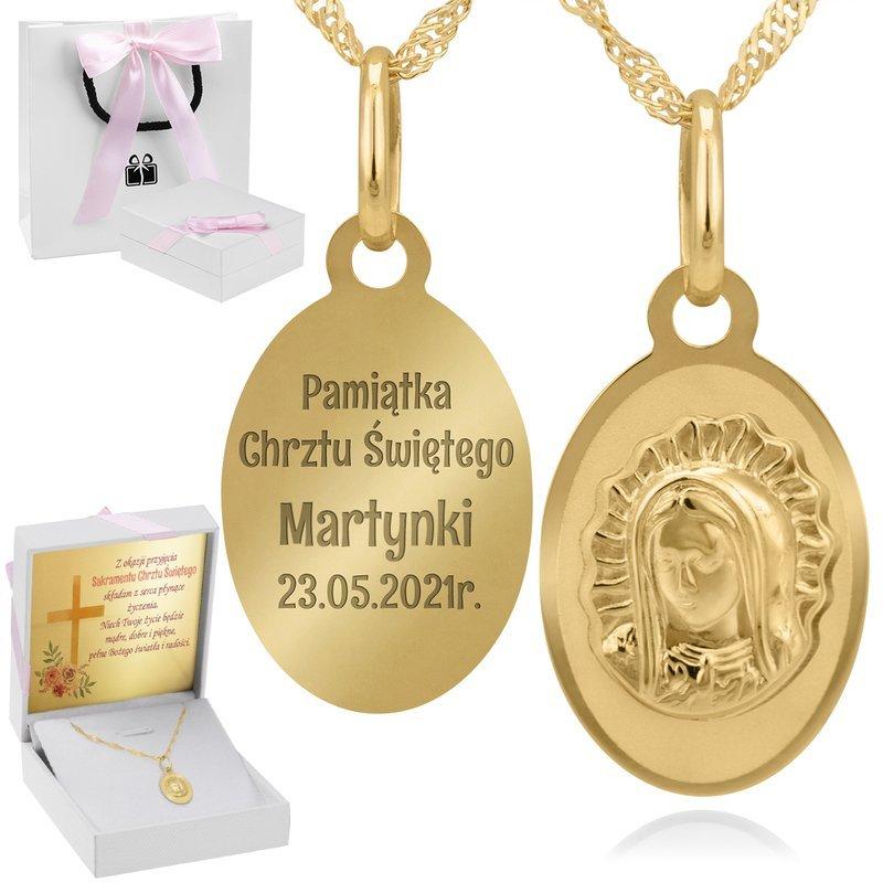 Złoty Medalik Matka Boska Grawer I Dedykacja Róż.