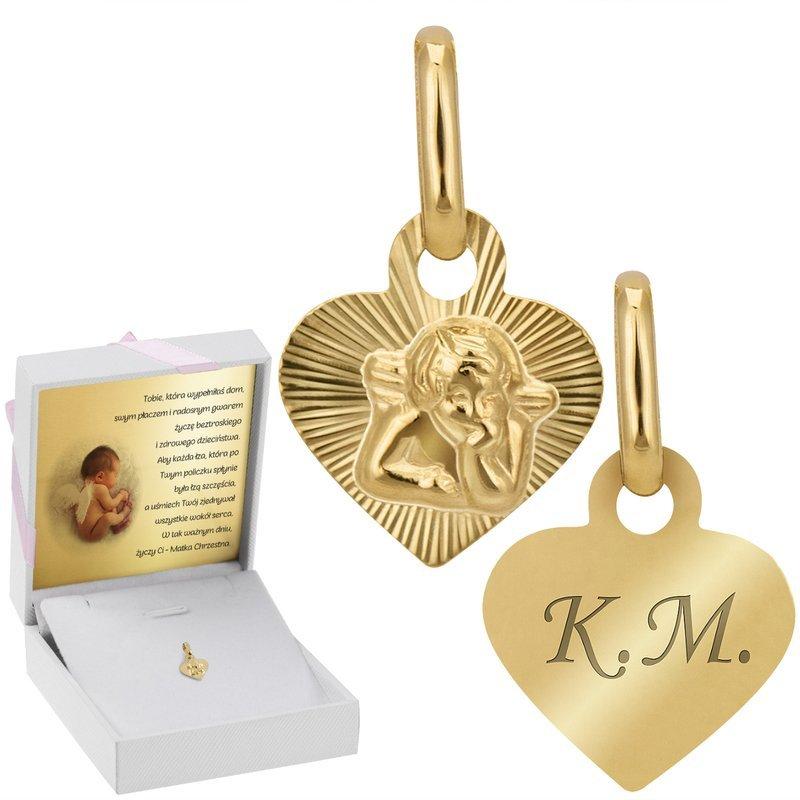 Złoty Medalik Z Aniołem Serce Grawer Dedykacja Róż