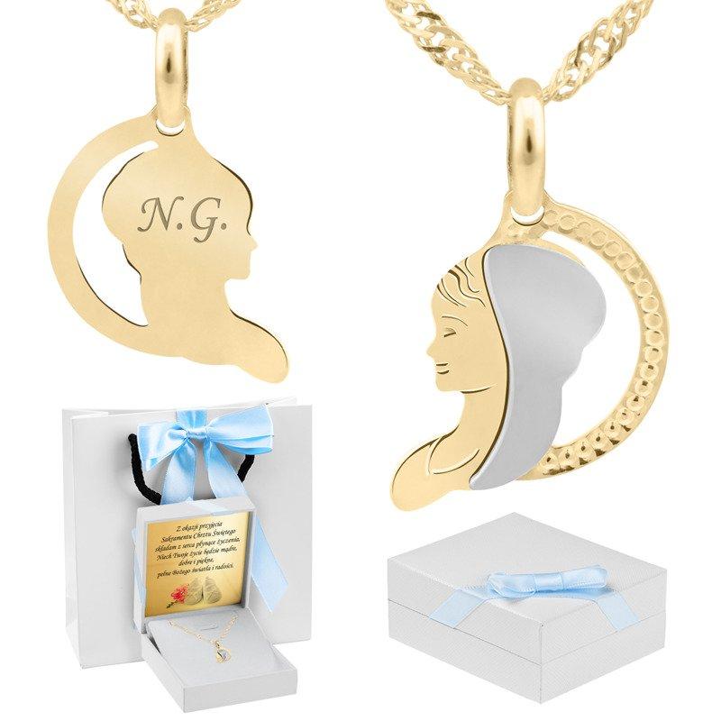 Złoty medalik z łańcuszkiem 585 Matka Boska Grawer niebieska kokardka