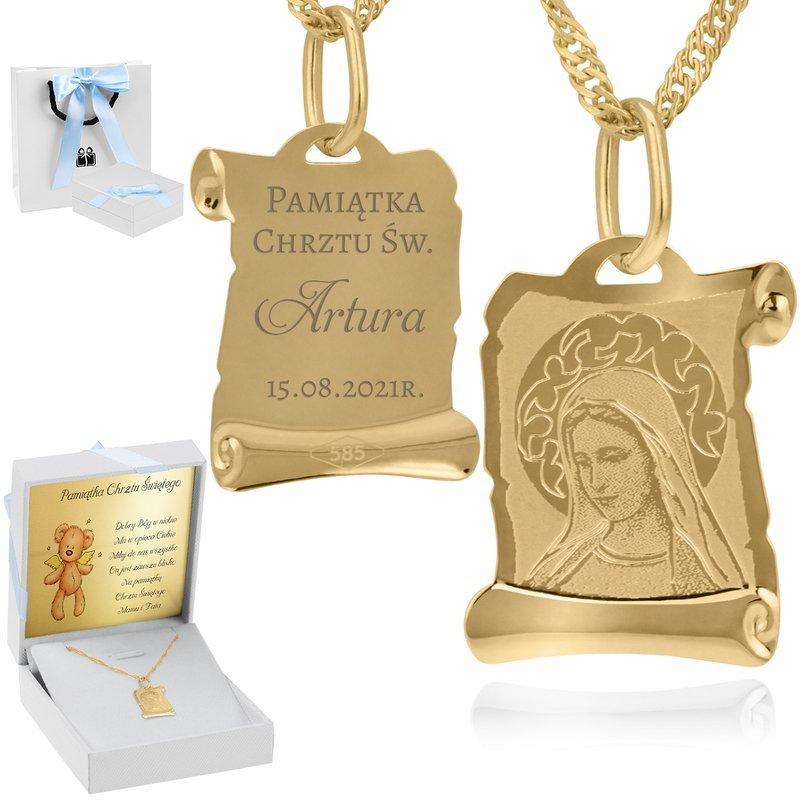 Złoty medalik z łańcuszkiem pr. 585 Matka Boska  GRAWER niebieska kokardka