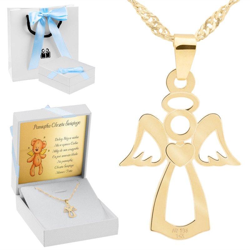 Złoty płaski medalik anioł pr. 585 Chrzest Komunia Prezent z Dedykacją