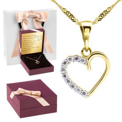 Złoty wisiorek serce kryształy łańcuszek próba 333 Dedykacja