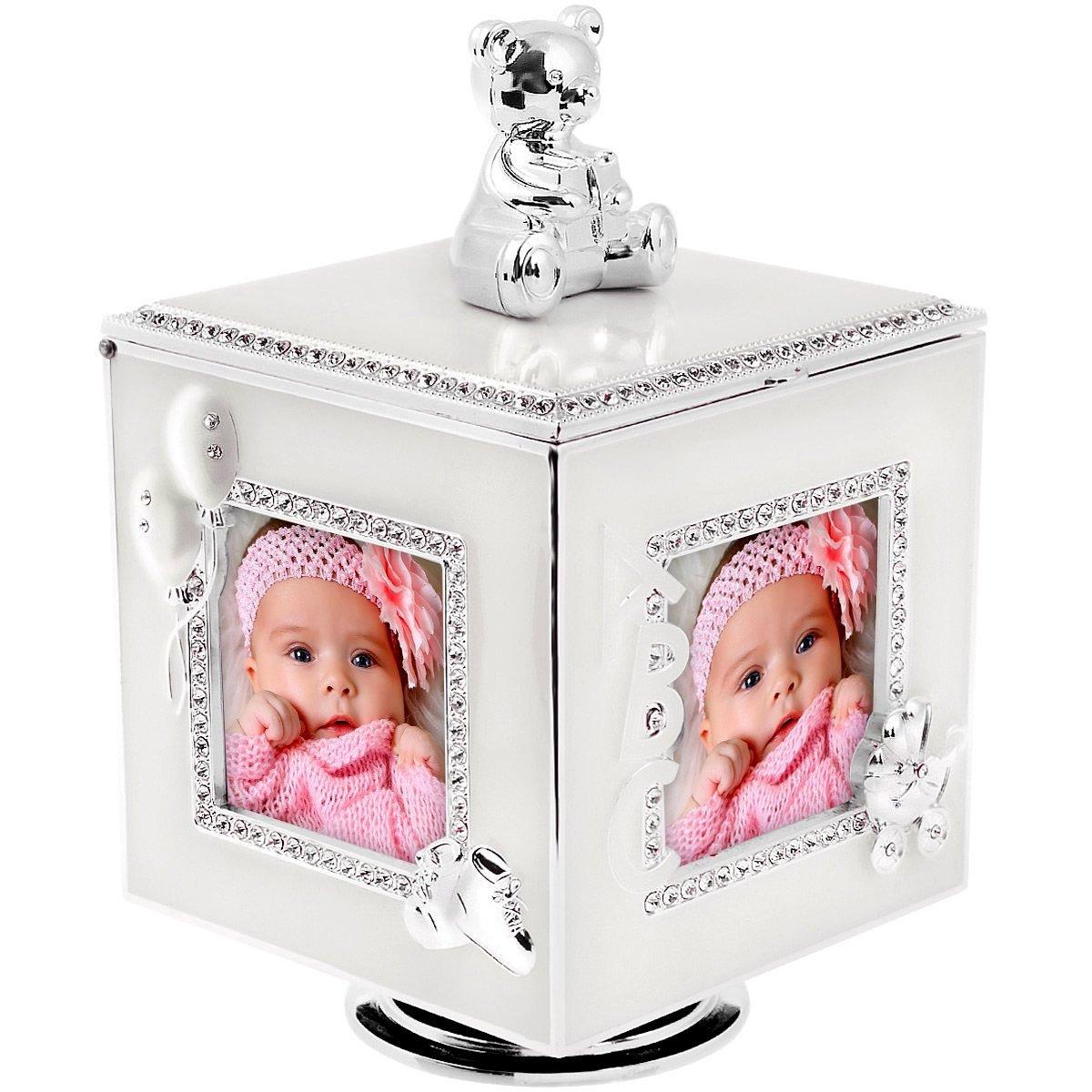 Karuzela miś z pozytywką, szkatułką i miejscem na 4 zdjęcia na chrzest roczek Dedykacja