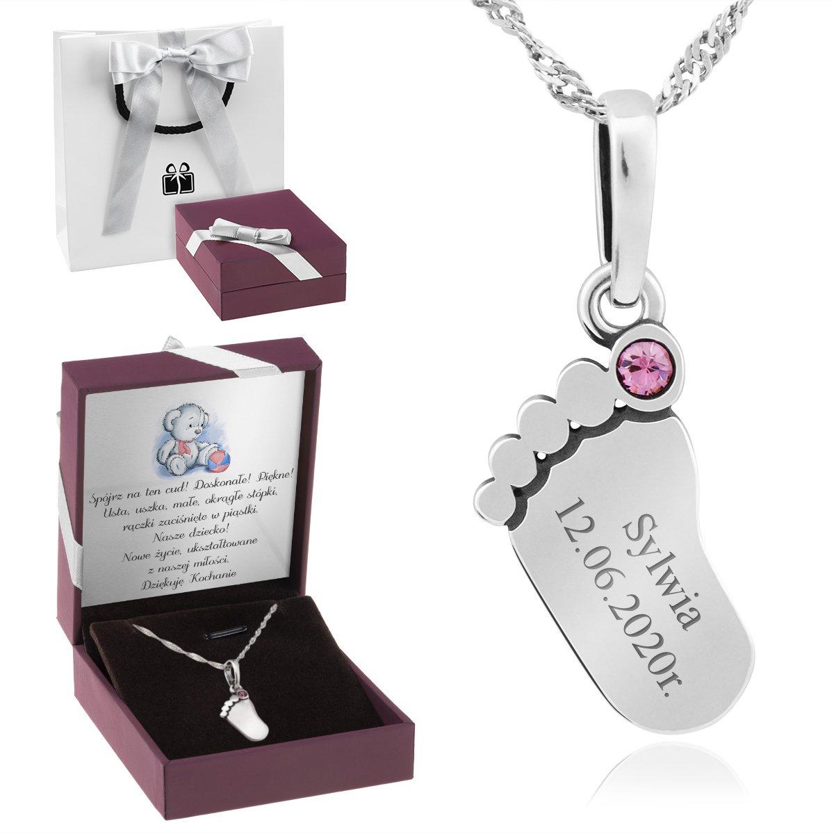 Naszyjnik stópka z różowym kamieniem srebro 925 GRAWER