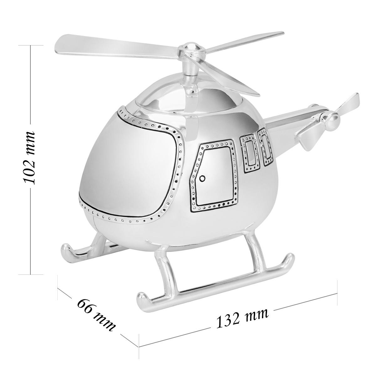 Posrebrzana skarbonka helikopter na Chrzest Grawer