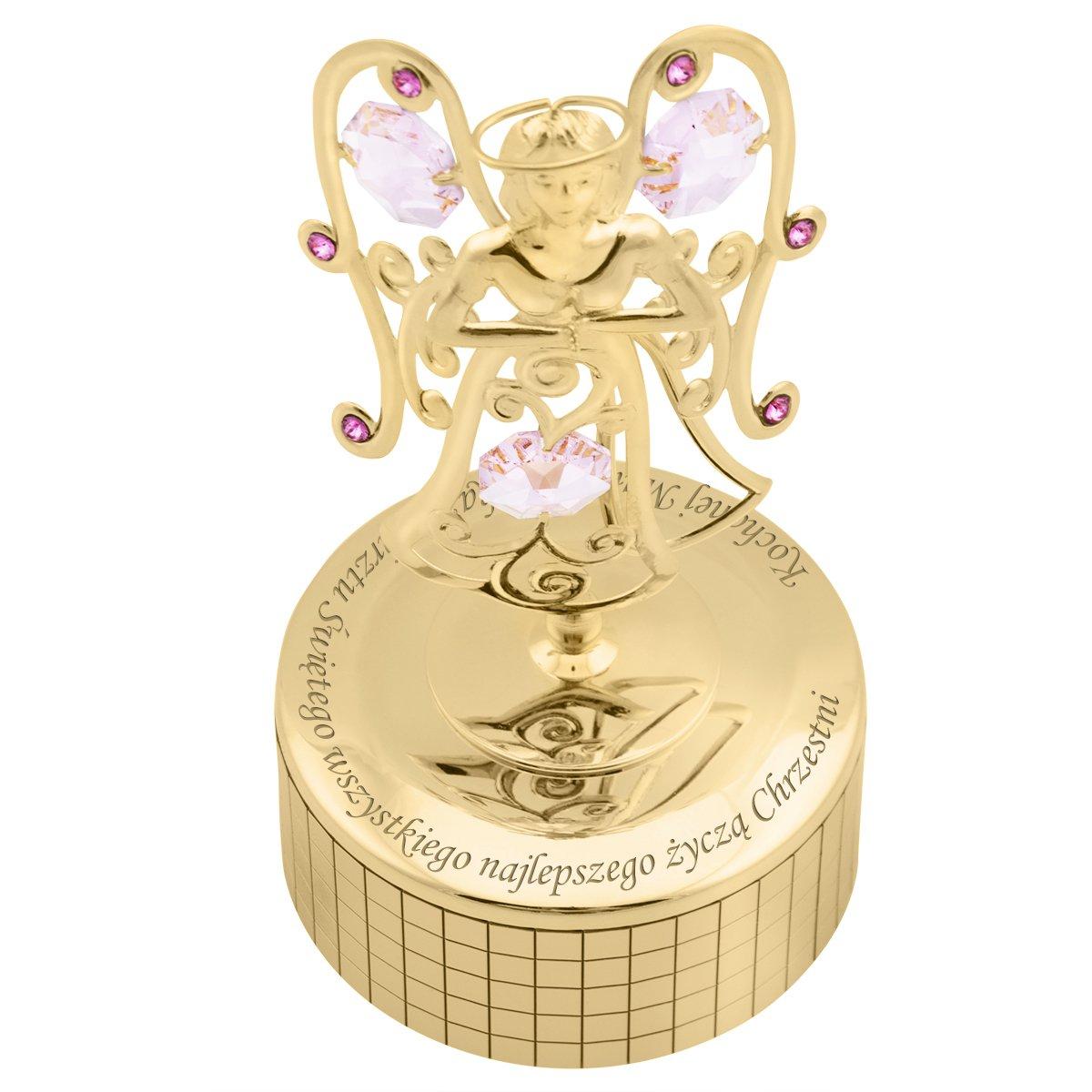 Pozytywka Anioł Różowe Kryształy Swarovski Prezent na Chrzest Grawer