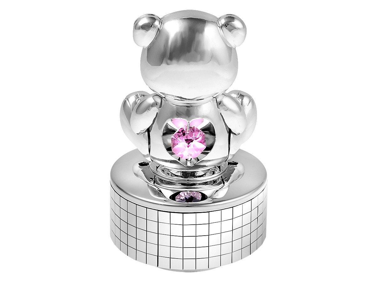Pozytywka Miś Różowe Kryształy Swarovski Prezent na Chrzest Roczek GRAWER