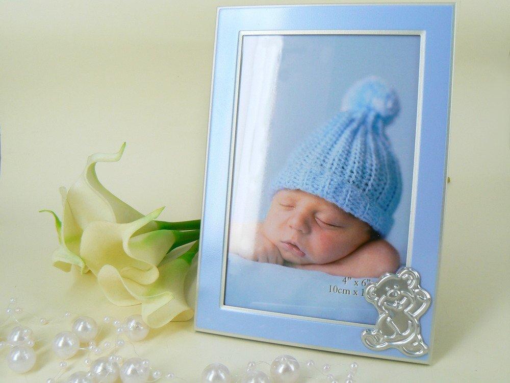 Ramka na Zdjęcia Blue Miś Pamiątka Chrzest Grawer