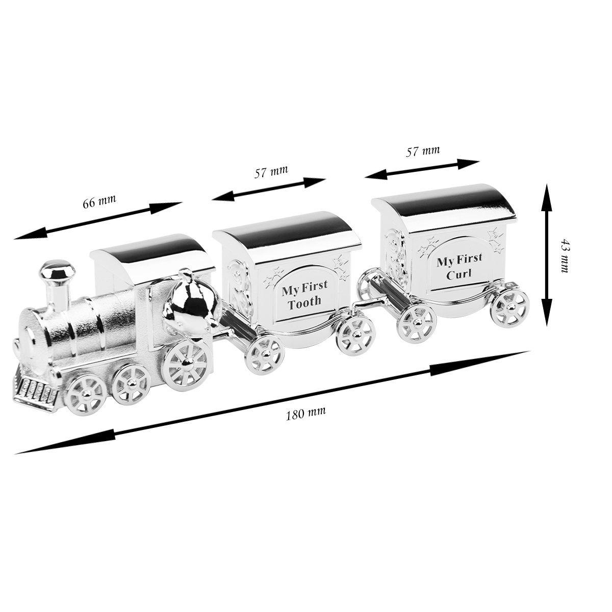 Szkatułka pociąg z wagonami roczek chrzest Grawer