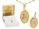 Owalny złoty medalik z Matką Boską Częstochowską próba 333 GRAWER różowa kokardka 1