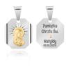 Srebrny medalik z Matką Boską, pozłacaną Grawer 1