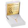 Złoty medalik z Matką Boską pr. 585 Pamiątka Chrzest Święty Komunia Bierzmowanie GRAWER różowa kokardka 2